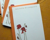 Set of 10 personalized flat notes- Poppy Illustration with moss text and Orange Poppy envelopes