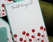 Set of 10 personalized flat notes- Red Poppies with chocolate text and Aqua Envelopes