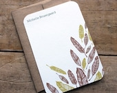 Set of 10 personalized flat notes- Feathers-recycled