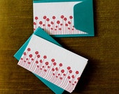 Red Poppies Enclosure Cards-Set of Five-Teal Envelopes