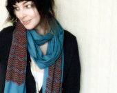 Screen Printed Jersey Scarf in Steel Blue with Red Chevron Print