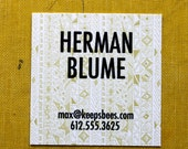 Square Calling Cards-Rude Boy print in Yellow Ochre