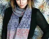 Screen Printed Jersey Scarf in Slate Gray with Coral and Purple Rude Boy Print