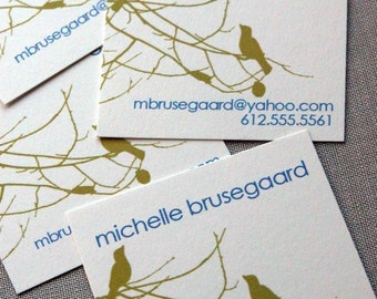 Birds and Branches Calling Cards in Lime and Royal Blue