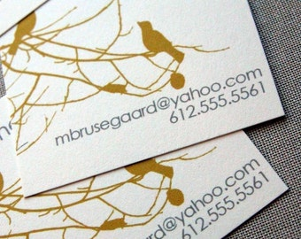 Birds and Branches Calling Cards in Yellow Ochre and Gray