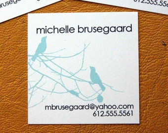 Birds and Branches Calling Cards in Light Blue