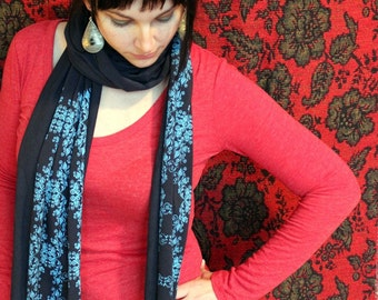 Screen Printed Jersey Scarf in Navy Blue with Aqua Wallpaper Motif