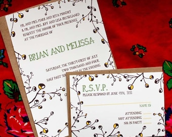 SAMPLE-Yellow Buds  Wedding invitation and RSVP set