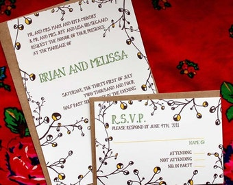 SAMPLE-Yellow Buds  Wedding invitation and RSVP set