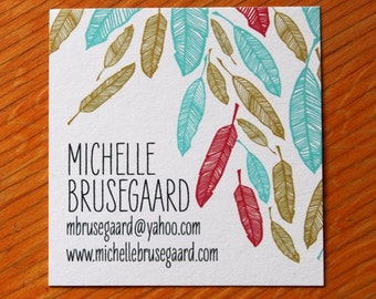 Feather Calling Cards-Large Square