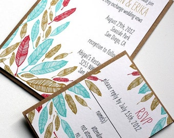 SAMPLE-Feathers Wedding Invitation and rsvp set- recycled