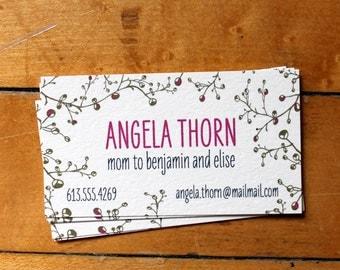 Mom Calling Cards- Fuchsia Buds