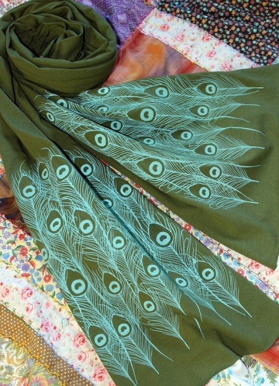 SALE----Screen Printed Jersey Scarf in Olive with Aqua Blue Peacock Feathers