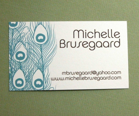 Teal Peacock Feather Calling Cards