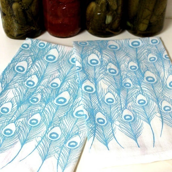 Peacock Feather Screen-Printed Dishtowels-set of 2