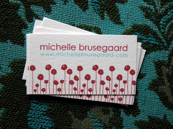 Red Poppies Calling Cards