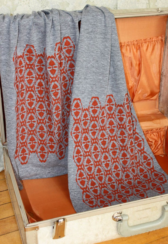 Screen Printed Jersey Scarf in Athletic Gray with Burnt Orange Ikat Wallpaper Print