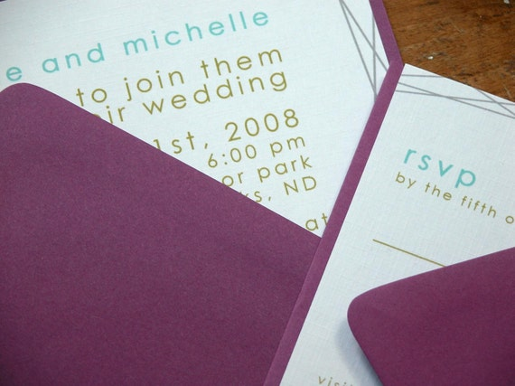 Modern Lines Wedding Invitation and rsvp set