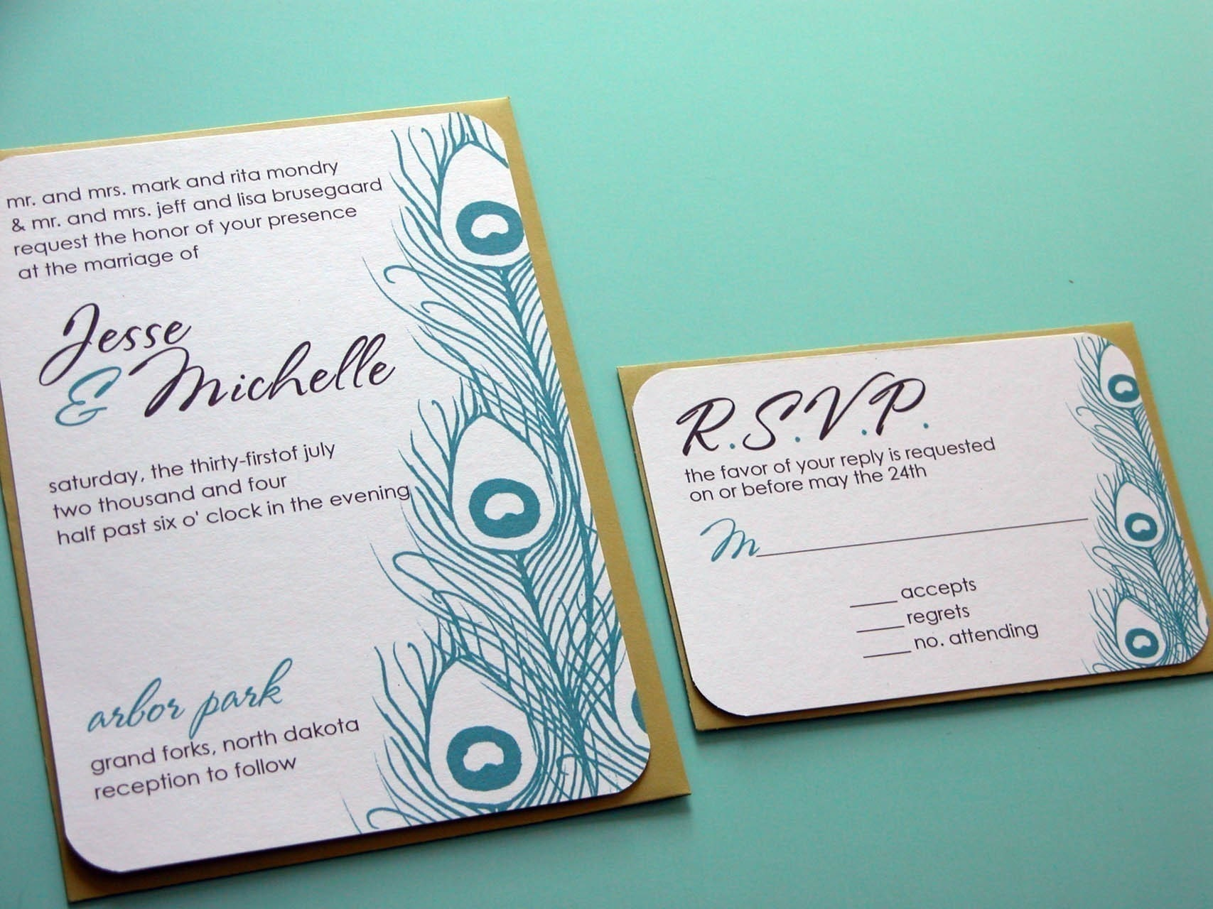 Peacock Feather Wedding Invitation: SAMPLE-Peacock Feathers Wedding Invitation By