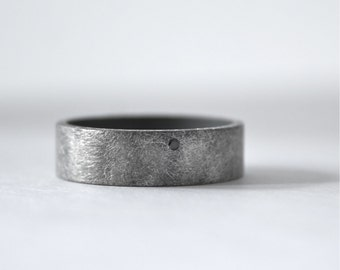 Black Diamond Ring - Mens Wedding Band - Oxidized Sterling Silver Mens Wedding Ring - Rough Finish Ring - Unisex - Artisan Custom Made Ring