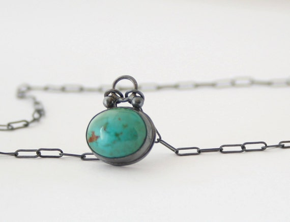 Turquoise Pendant  Necklace - Sterling Silver - Bezel Set - Natural Cabochon - Oxidized -  Blue Green Stone