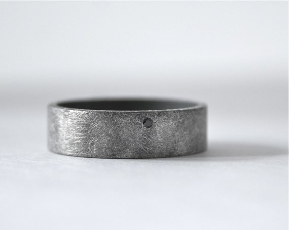 Black Diamond Ring Mens Wedding Band Oxidized by CocoandChia