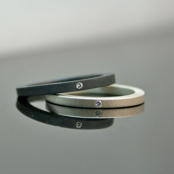 Simple Diamond Rings - Stackable Diamond Wedding Ring Set - Matte and Oxidized Black Engagement Rings - Minimalist Wedding Bands - Artisan