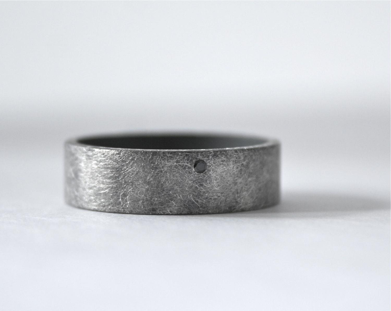 Black Diamond Ring Mens Wedding Band Oxidized by CocoandChia