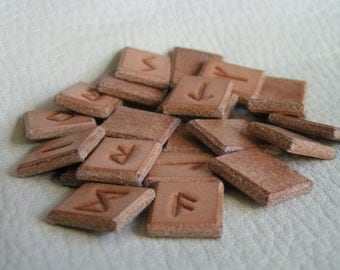 Natural leather Elder Futhark runes