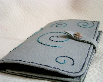 Dragon opal swirl leather card case