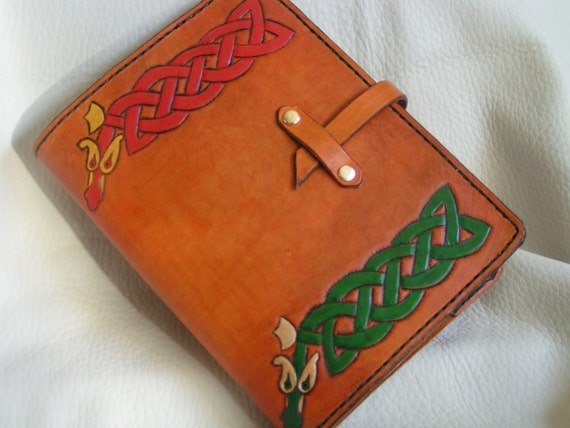 Celtic snakes hand tooled leather journal cover