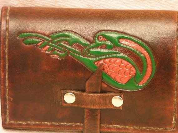 Celtic bird tooled leather card case