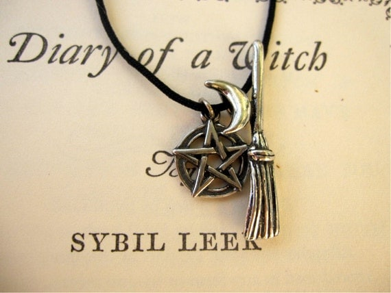 PENTACLE MOON and BROOM Witch Pendants Pewter