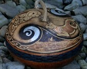 The Owl and the Pussycat Gourd Art Container Bowl