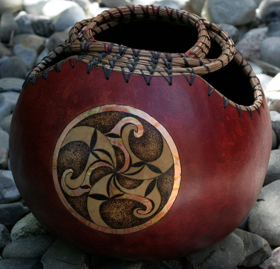 Celtic Spirals Triskele Pyrography Woodburning Gourd Bowl
