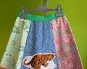 girls kitten skirt from colourful vintage fabrics, size 7-9