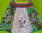 SALE kinchi Pretty bird skirt. Hand screenprinted vintage fabric skirt for girls, Size 2-4 or 4-6
