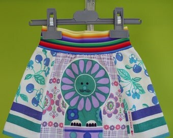kinchi lion skirt from upcycled vintage fabric, size 1/2