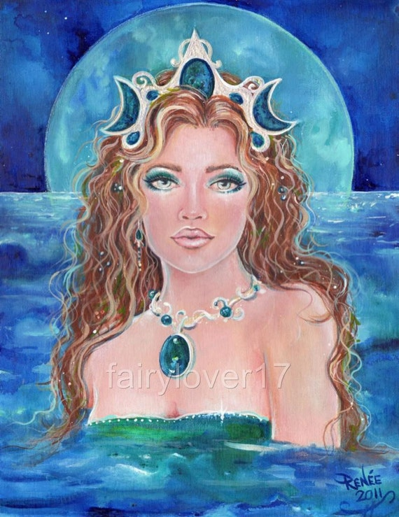 aceo lustre print mermaid fantasy by renee