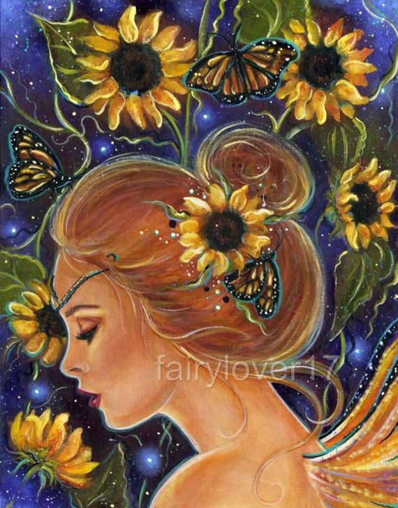 Lustre Print Sun Flower Fairy  5.50 x7inch Print By Renee