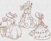 INSTANT DOWNLOAD Sunbonnet Southern Belles Redwork Machine Embroidery Designs