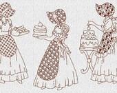 INSTANT DOWNLOAD Baking Sunbonnet Sue Redwork Machine Embroidery Designs