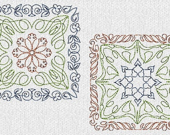 INSTANT DOWNLOAD Multi Color Quilt Blocks Machine Embroidery Designs in 2 Sizes