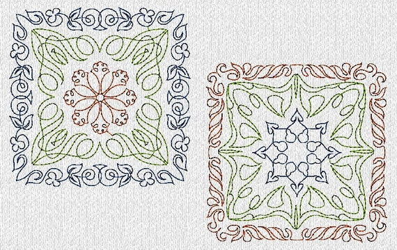 Multi Color Quilt Blocks Machine Embroidery Designs in 2 Sizes