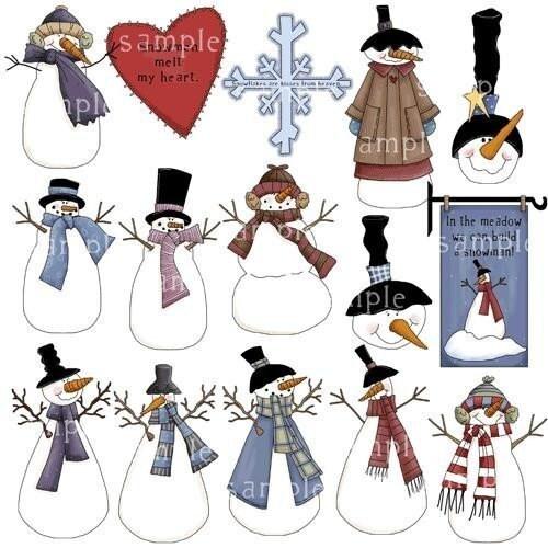 Vintage Snowman Clipart Graphics