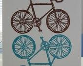 Bicycles linoleum block print