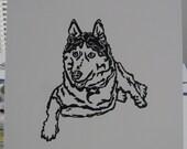 Husky linoleum block print
