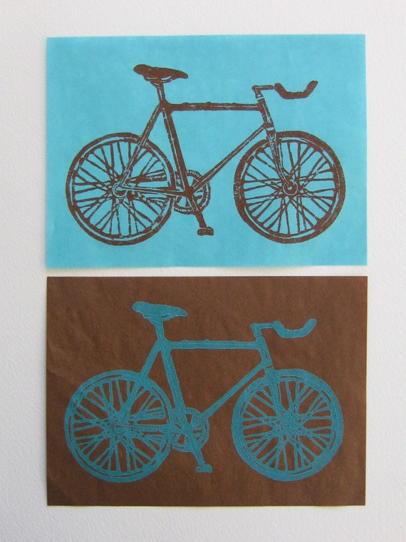 Bicycle linoleum block print (Set of two)