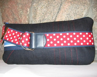 Denim with Red and White Polka Dots Zipper Pouch Clutch Bag