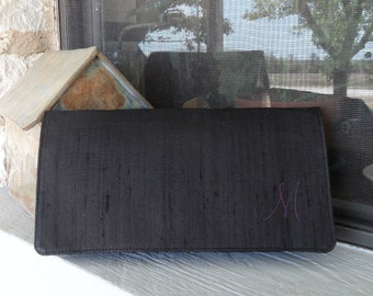 Clutch Handbag Silk Dupioni Custom with Initial